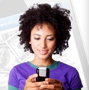 consumer using mobile smartphone