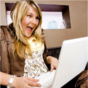 woman who is overspending on the internet