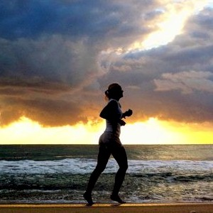 jogging regardless of what the weather is